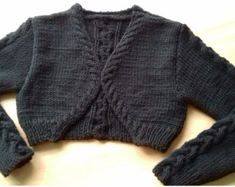 Hand Knit Bolero Women's KnitShort Cardigan/ Knitted  Sweater/ Jacket With Long Sleeves Custom Colors and Sizes