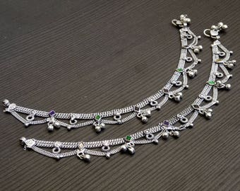 Barefoot anklets   Silver chain anklets   Ethnic silver plated jewelry anklet   Women's ankle jewelry   Traditional Indian jewelry   A140