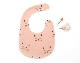 Teething BIB 1 age for baby 100% cotton organic coral cat