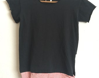 1990s ANNA SUI Distressed Tie Up Vintage Basic Tee // Size Xsmall