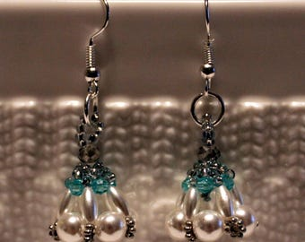 Cute pearl beaded handmade dangling earrings in white & blue; beadweaving, handmade, dangle and drop
