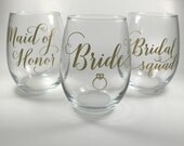 Personalized Stemless Wine Glasses, Bridal Wine Glasses, Bachelorette Party Favors, Bridesmaid Wine Glasses, Wedding Party gifts, Bridal