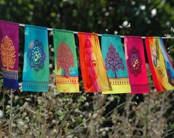 BUDDHA MIX prayer flags Spiritual Yoga Meditation Zen Garden Boho Home decor Tree of life Om Banner Buddhism Bunting Wall art tapestry Print