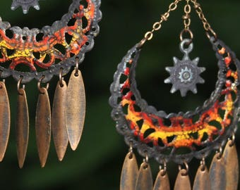 Sunset Orange Native American Jewelry Hippie Jewelry boho Jewelry Bohemian Jewelry Tribal Jewelry Hippie Earrings Boho Dangle Earring Tribal
