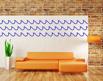 "Waves Vinyl Wall Decal, Choose From Many Colours, Overall Size 70"" X 12"""