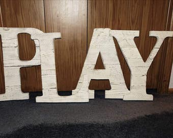 "Custom - ""PLAY"" Nursery decor - Reclaimed - Picket fence - whitewashed - pallet wall art"