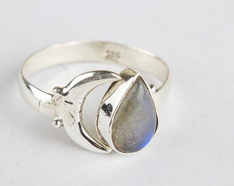 Handmade Natural Labradorite Gemstone Solid 925 Sterling Silver Ring, Half Moon Ring, Boho Ring, Good Fortune Ring, Nickel Free Silver.