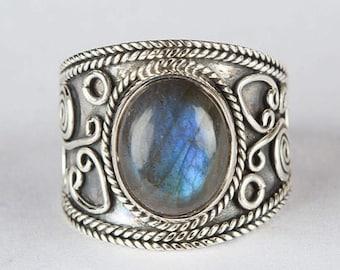 Natural Labradorite Gemstone Ring, Pure 925 Sterling Silver,  Labradorite Jewelry, Healing Ring, Labradorite Silver Ring.