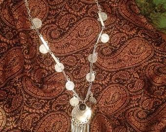 Large bohemian coin necklace (gypsy, boho)