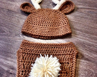 Baby Animal Outfit, Crochet baby deer outfit, crochet baby reindeer photo prop