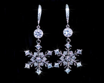 Handmade CZ & Crystal Rhinestone Snowflake Dangle Earrings, Bridal, Winter Wedding (Sparkle-2080)