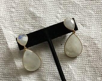 Moonstone vermeil earring