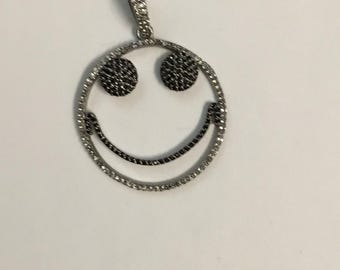 Pave white topaz  black spinal sterling  silver pendant