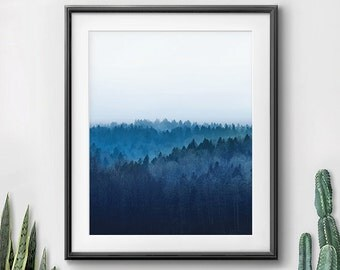 Abstract Photography, Forest Art, Instant Download, Abstract Decor, Blue Artwork, Navy White Print, Home Office, Blue Wall Art, Trees Prints