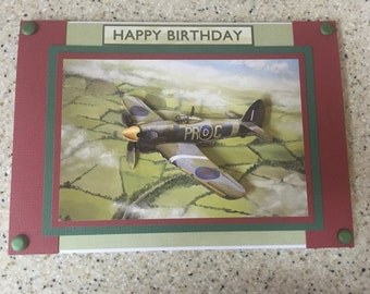Handmade Happy Birthday card 3D decoupage Vintage Hawker Typhoon plane aeroplane