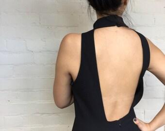 Vintage high neck open back floor length black dress with thigh slit, vintage black dress, floor length dress, open back dress, size 8