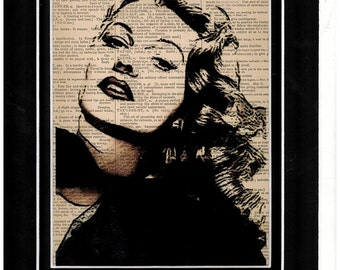Antique Dictionary art of Rita Hayworth