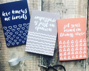 Set of 3 'Be Inspired' Notebooks - Notebook Set - Luxury Notebooks - Faith Prints - Izzy & Pop - Christian Gifts - Inspirational Quotes