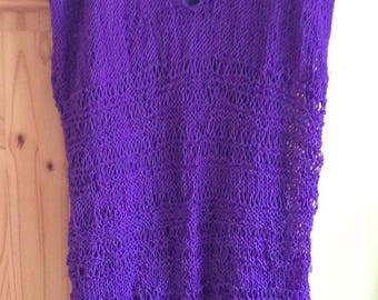 Hand knitted longline tunic in dropstitch pattern