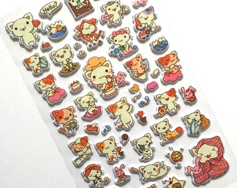Cute kitty puffy stickers