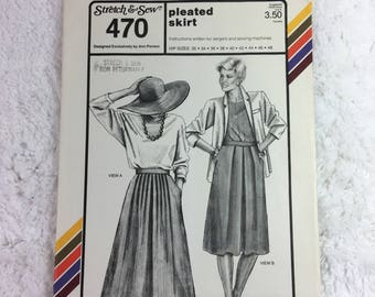 Stretch and Sew 470 Sewing Pattern Pleated Skirt Hip Sizes 32-48 / designed by Ann Person / plus size / career skirts / casual skirts