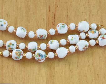 Vintage Millefiori Japanese White Flower Bead Links.  50 Baroque Japanese Beads (9mm) and 60 White Round White Beads (6mm) on 10 Bead Links.