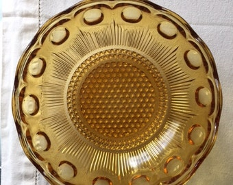 Vintage Amber Glass Serving Bowl, Bartlett Collins Manhattan 1970s Vintage Bowl