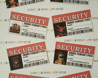 FNAF Security Tags, Five NIghts at Freddys Security Tags, FNAF Tags, Five Nights at Freddys Tags, FNAF Party Supplies, Five Nights at Freddy