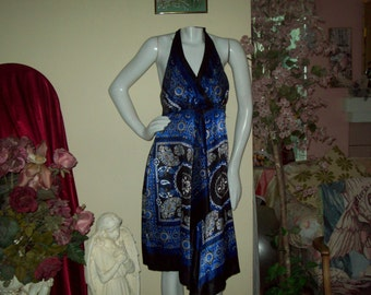 "Blue-Black Bandana Halter Dress by ""AGB, Made in USA"", sz 14"