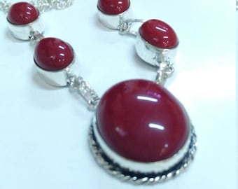 Silver necklace with red coral