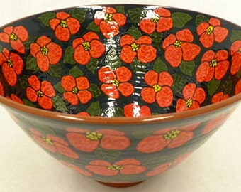 Bowl with Red Flowers.