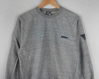 RARE!!! Wilson Small Logo Crew Neck Grey Colour Sweatshirts Hip Hop Swag M Fit S Size
