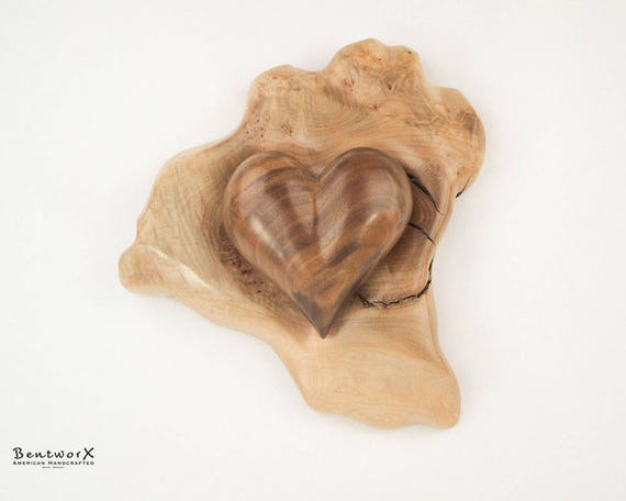 "Say I Love You with this Hand Carved ""Beautiful"" Oregon Black Walnut Heart with Holder (2 Pieces) 