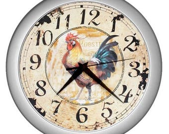 Retro Wall clock Rooster kitchen vintage image Wall kitchen  decor rooster decor