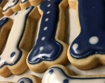 Dog Bone Sugar Cookies (Penn State colors) Navy Blue and White