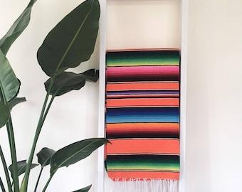 SALE* Mexican Blanket Serape Wool and Cotton- Orange