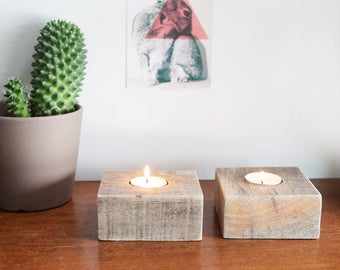 2 set Upcycling wooden candle holder range