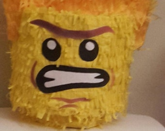 Lego Brick Head Lord Business Piñata. Handmade. New