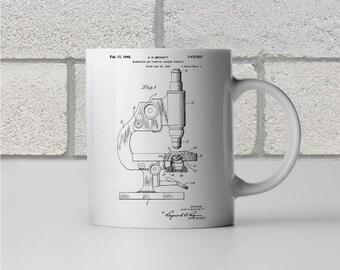 Microscope Patent Art Mug Gift, Microscope Mug, Science Mug, Biology Gift, Biologist Gift, Science Gift, Scientist Gift, Professor Gift