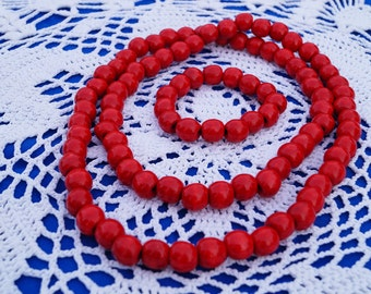 Statement Necklace Wooden necklace Bold Necklace Red Red bracelet beaded necklace Ukrainian Jewelry Wooden bead necklace ethnic