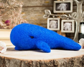 Felted whale, needle felted animal, felt animals,  soft sculpture whale, Felt replica, big blue whale, stuffed whale, whale plush