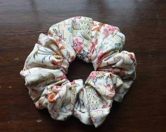 Pink scrunchie, floral scrunchie, tan scrunchie