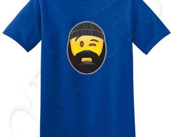 Beard and Beanie Crew Neck T shirts for Guys Dude Emoji winking Adult's T-shirt Mustache Beard and Beanie Tee for Men - 1455C_GMTS