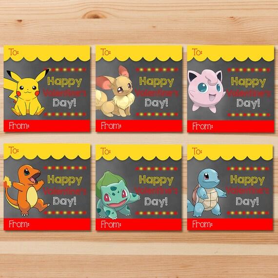 Pokemon Valentine's Day Cards - Red Chalkboard - Red Pokemon Pikachu Valentines - Boy Pokemon Party - School Valentine's Day Cards