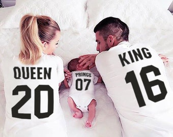 King Queen Prince Princess 01 Father Mother Daughter Son Matching shirts , King and Queen shirts, 100% cotton Tee, CUSTOM NUMBERS