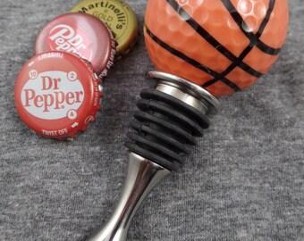 Basketball Pattern Golf Ball Wine Bottle Stopper