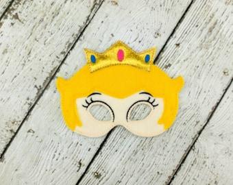 Peach Princess Felt Mask - Dress Up - Pretend Play - Halloween - Party Favor - Costume