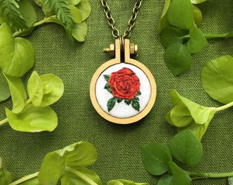 Hand Embroidered Rose Pendant// Silk Embroidery June Birthflower//Red Rose