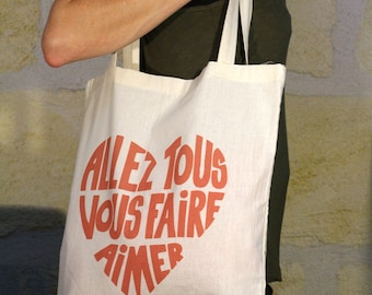 "Tote bag off-white Calligram ""Will all make you love"" Red"