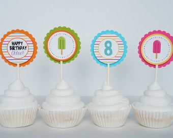 Popsicle Cupcake Toppers, Popsicle Cake Topper, Popsicle Birthday, Popsicle Party, Pool Party, Ice Cream Party, Summer Birthday- SET OF 12